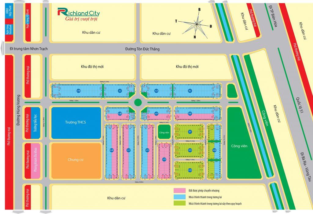 Sơ đồ phân lô - Mặt bằng dự án RichLand City Nhơn Trạch