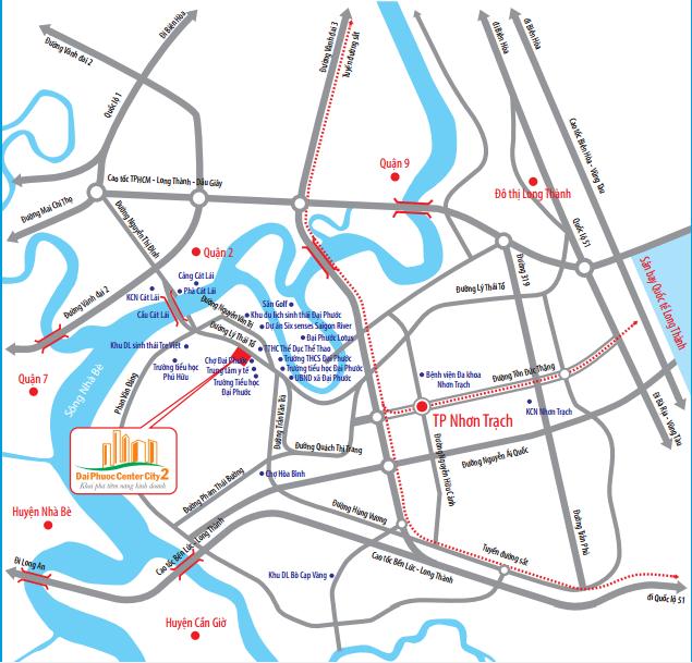 Vị trí dự án Đại Phước Center City 2