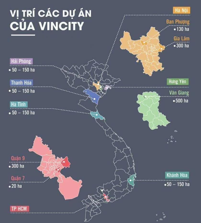 Vị trí các dự án VinCity của Vingroup