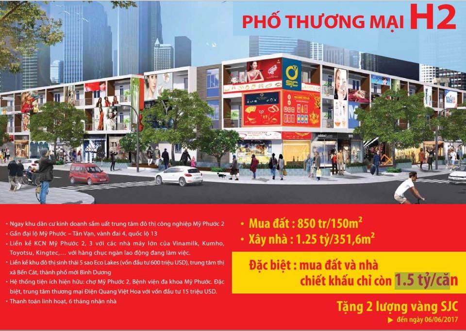 Bán nhà phố thương mại H2 khu đô thị Mỹ Phước 3 giá 1.5 tỷ/ Căn 1 trệt 2 lầu