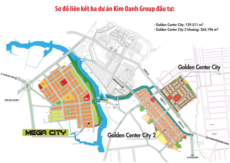 Sơ đồ liên kết vị trí 3 dự án lớn của công ty Kim Oanh: Golden 1, 2 và Mega City