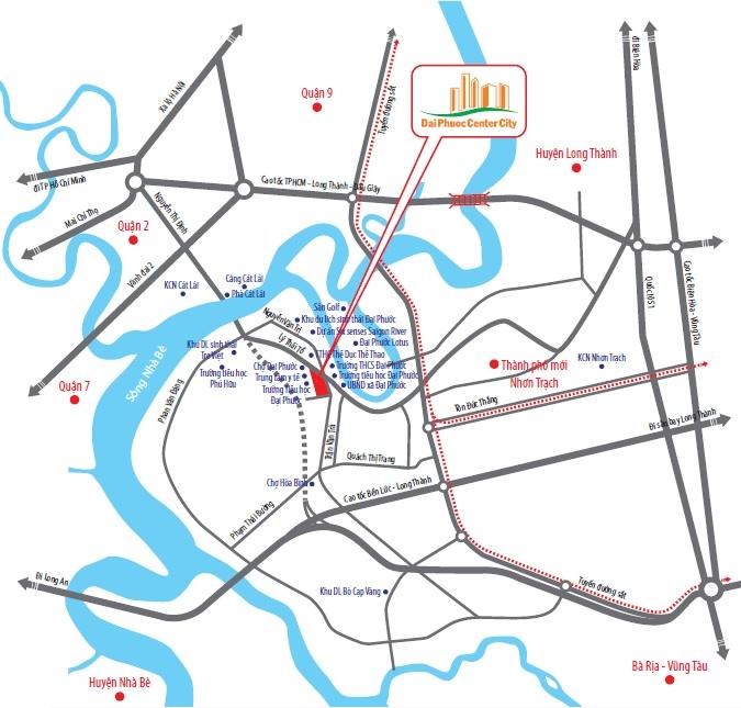 Vị trí đắc đại dự án Đại Phước Center City