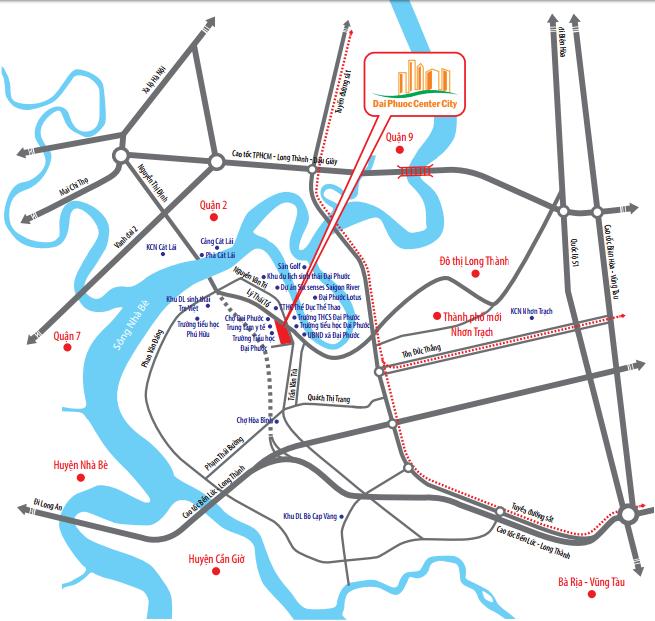 Vị trí dự án đất nền Đại Phước Center City