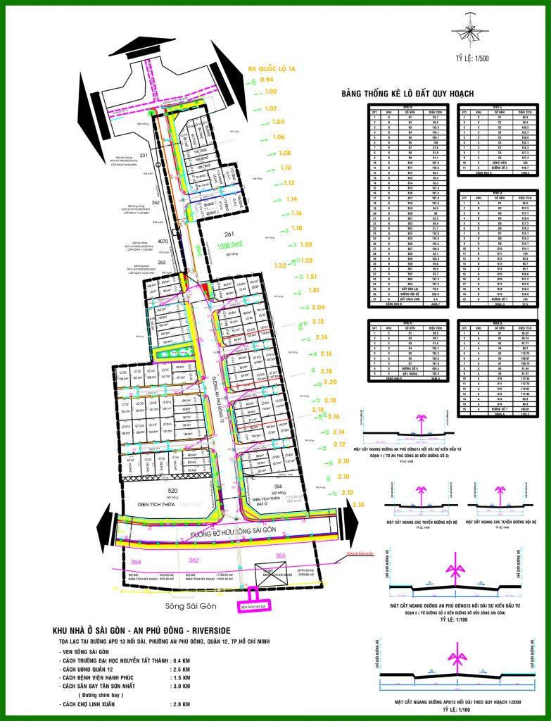 Sơ đồ phân lô tổng thể dự án An Phú Đông Riverside Quận 12