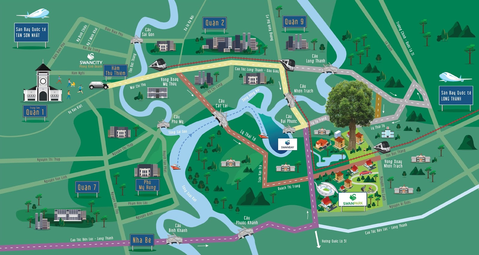 Vị trí ngay trung tâm huyện Nhơn Trạch swan park