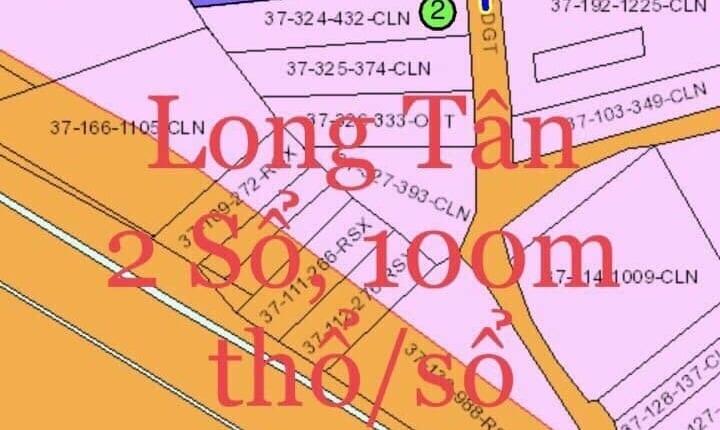 Đất nền xã Long Tân bán liền cả 2 lô giá cực tốt