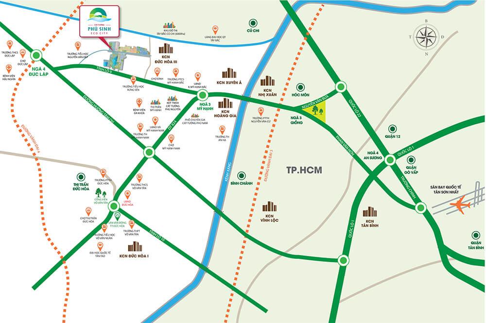 Vị trí đắc địa dự án Cát Tường Phú Sinh