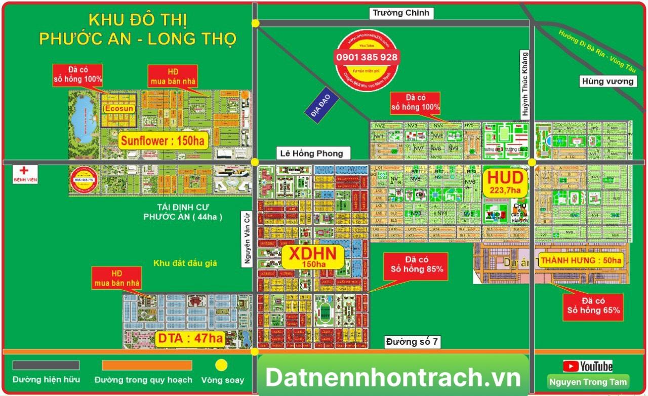 Sơ đồ tổng thể dự án Khu đô thị LOng Thọ - Phước An